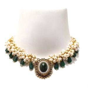 Repurposed Statement Necklace Jade and Pearls